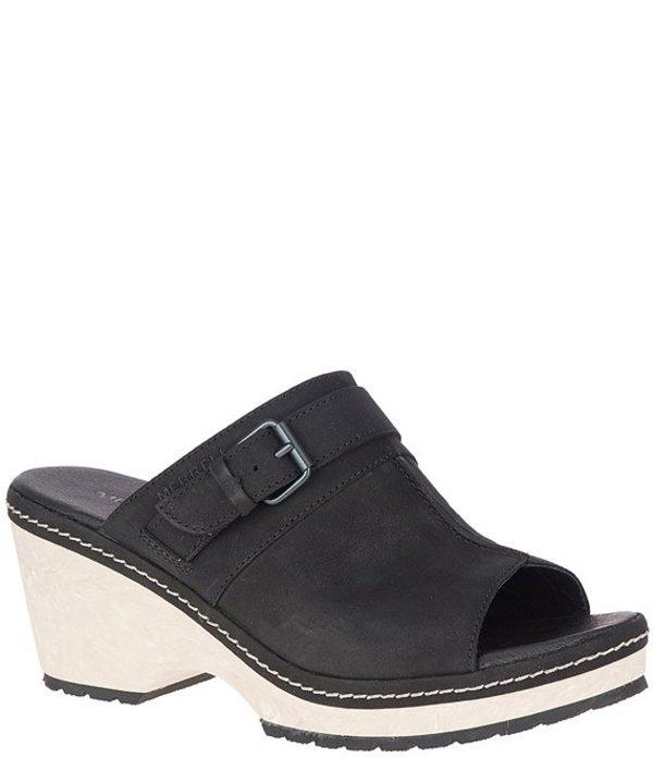 メレル レディース サンダル シューズ Halendi Leather Slides Mules Black