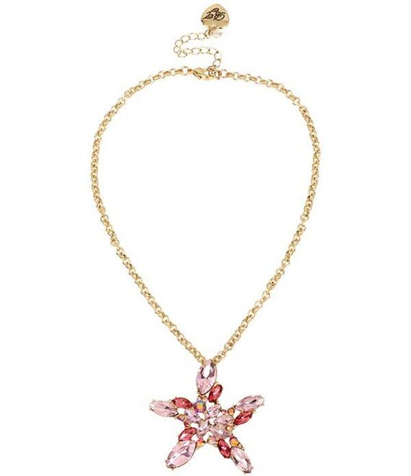 ベッツィジョンソン レディース ネックレス・チョーカー・ペンダントトップ アクセサリー Stone Cluster Starfish Pendant Necklace Pink