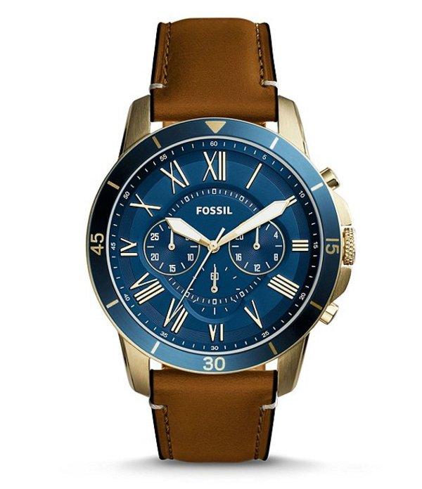フォッシル メンズ 腕時計 アクセサリー Grant Sport Chronograph Leather-Strap Watch Brown