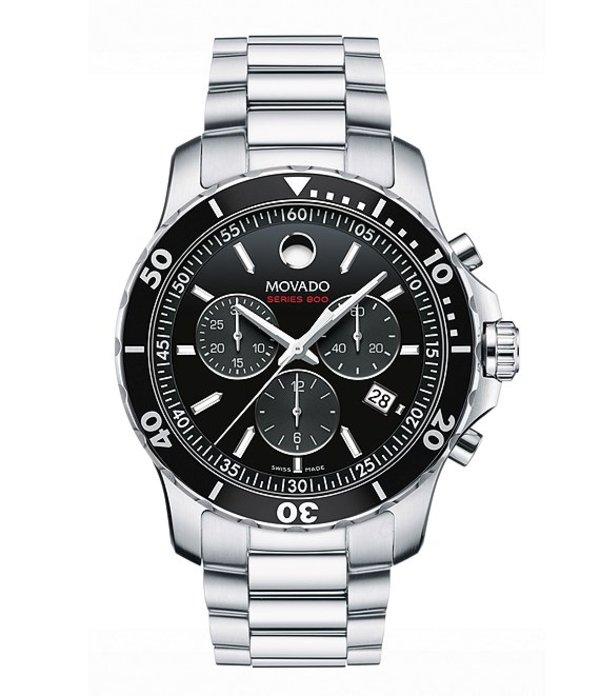 モバド メンズ 腕時計 アクセサリー Series 800 Silver-Tone Quartz Chronograph Movement Watch Silver
