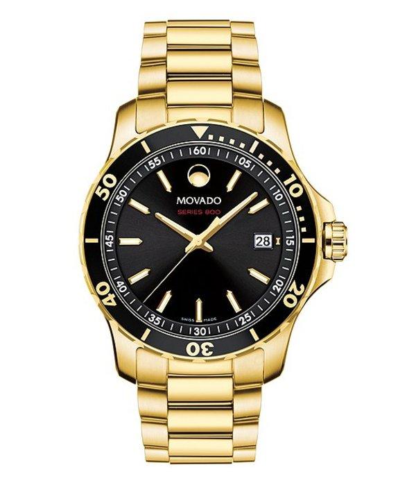 モバド メンズ 腕時計 アクセサリー Series 800 Gold-Tone Swiss Quartz Analog Movement Watch Gold