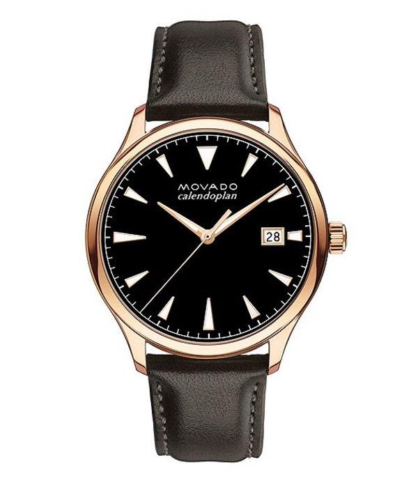 モバド メンズ 腕時計 アクセサリー Heritage Chocolate Brown Leather Strap Watch Brown