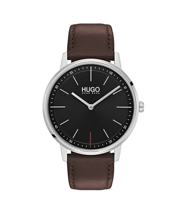 ヒューゴボス メンズ 腕時計 アクセサリー HUGO HUGO BOSS #Exist Brown Leather Strap Black Dial 2-Hand Watch Brown