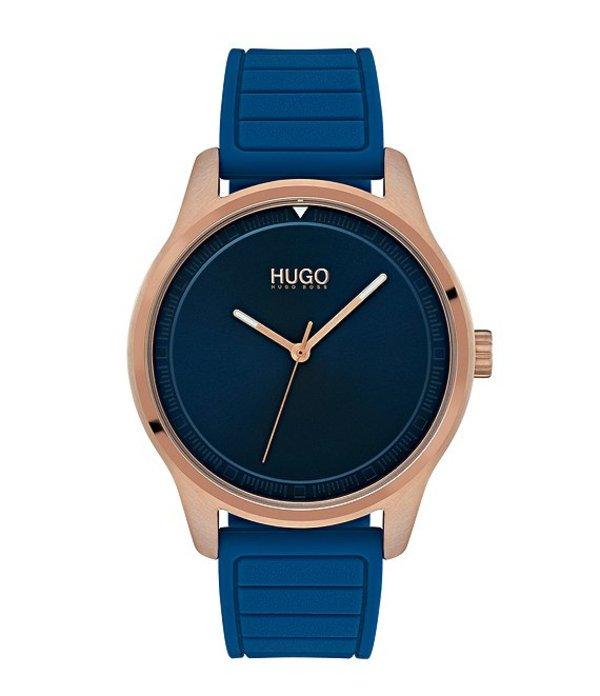 ヒューゴボス メンズ 腕時計 アクセサリー HUGO HUGO BOSS #Move 3-Hand Blue Rubber Strap Watch Blue