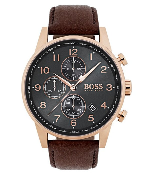 ヒューゴボス メンズ 腕時計 アクセサリー BOSS Hugo Boss Navigator Brown Vachetta Leather Strap Chronograph Watch Brown