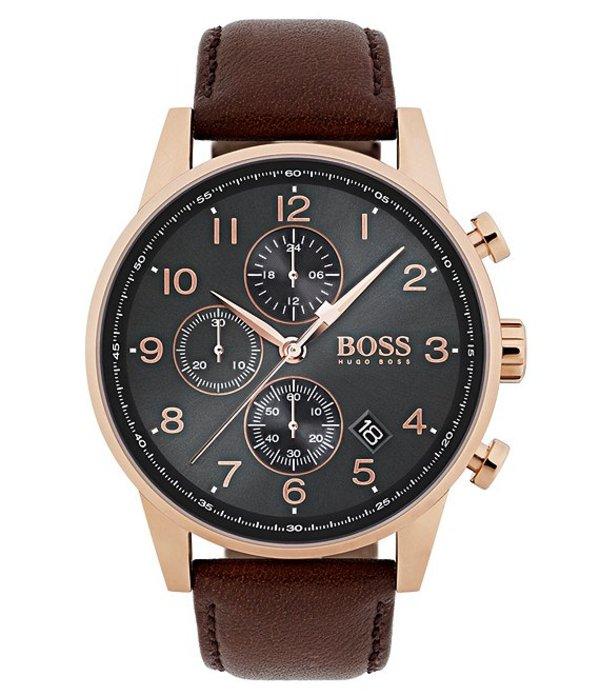 ヒューゴボス メンズ 腕時計 アクセサリー BOSS Hugo Boss Navigator Brown Vachetta Leather Strap Chronograph Watch Brown