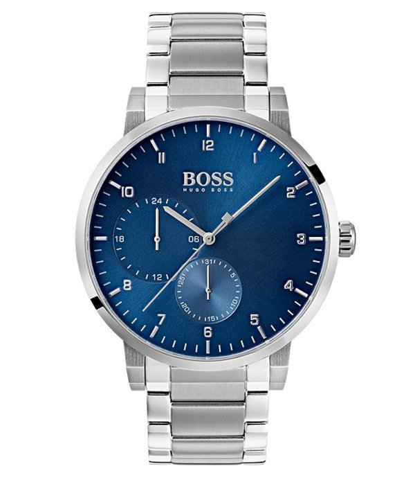 ヒューゴボス メンズ 腕時計 アクセサリー BOSS Hugo Boss Oxygen Stainless Steel Blue Multifunction Dial Watch Silver/Blue
