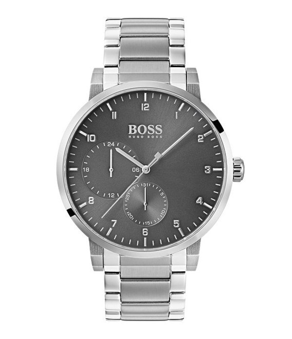 ヒューゴボス メンズ 腕時計 アクセサリー BOSS Hugo Boss Oxygen Stainless Steel Grey Multifunction Dial Bracelet Watch Silver