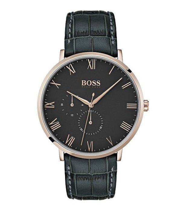 ヒューゴボス メンズ 腕時計 アクセサリー BOSS Hugo Boss William Grey Croc Leather Watch Grey