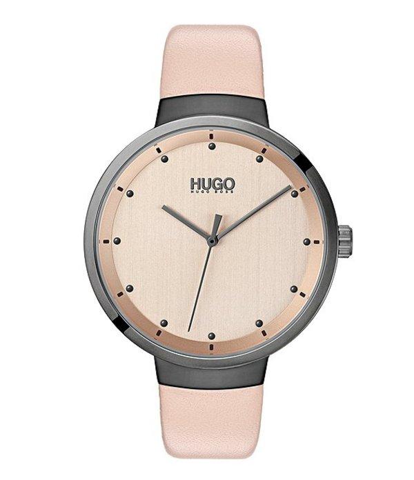 ヒューゴボス レディース 腕時計 アクセサリー #Go Pink Leather Watch Carnation