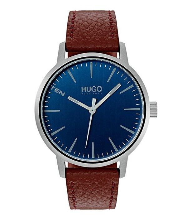 ヒューゴボス メンズ 腕時計 アクセサリー HUGO HUGO BOSS #Stand Brown Leather Watch Silver