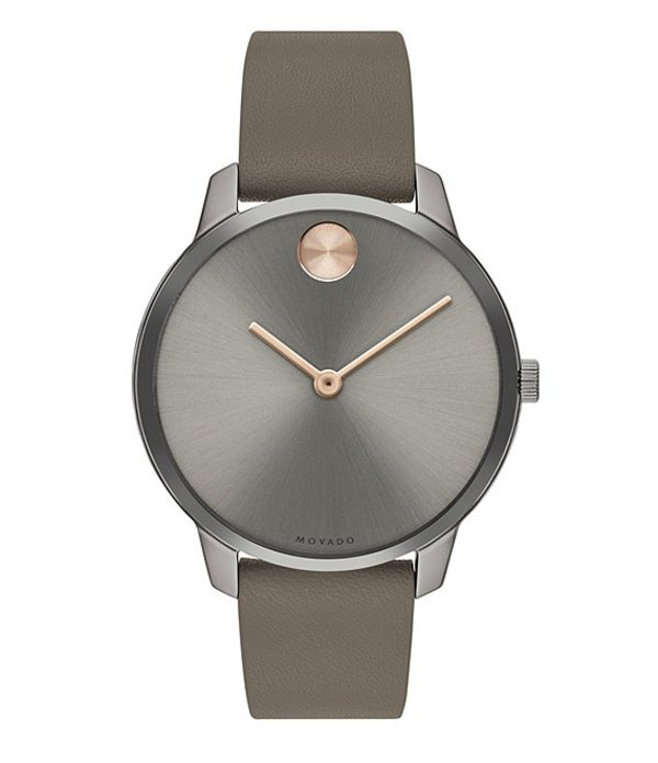 モバド レディース 腕時計 アクセサリー Bold Grey IP Leather Strap Watch Grey