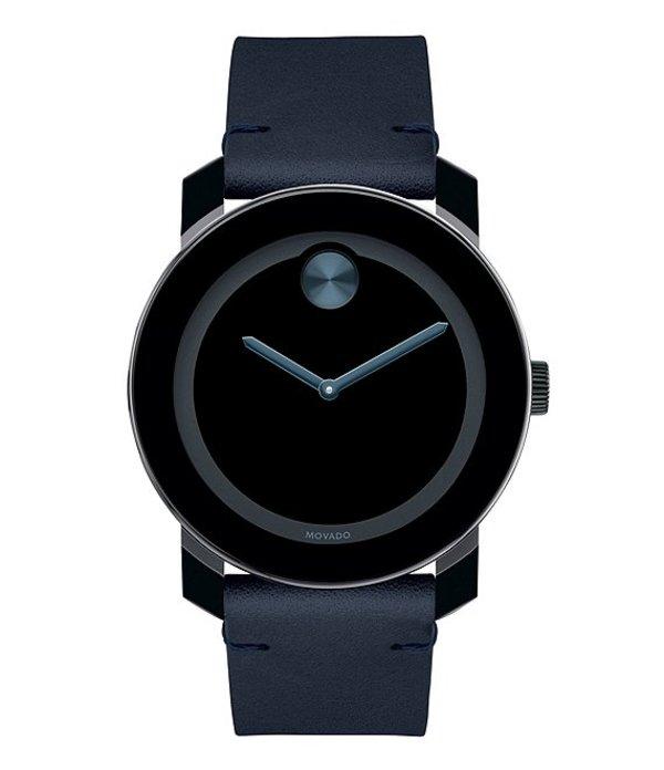 モバド メンズ 腕時計 アクセサリー Bold Navy Leather Strap Watch Navy