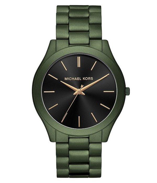 マイケルコース メンズ 腕時計 アクセサリー Oversized Slim Runway Olive-Tone Watch Green
