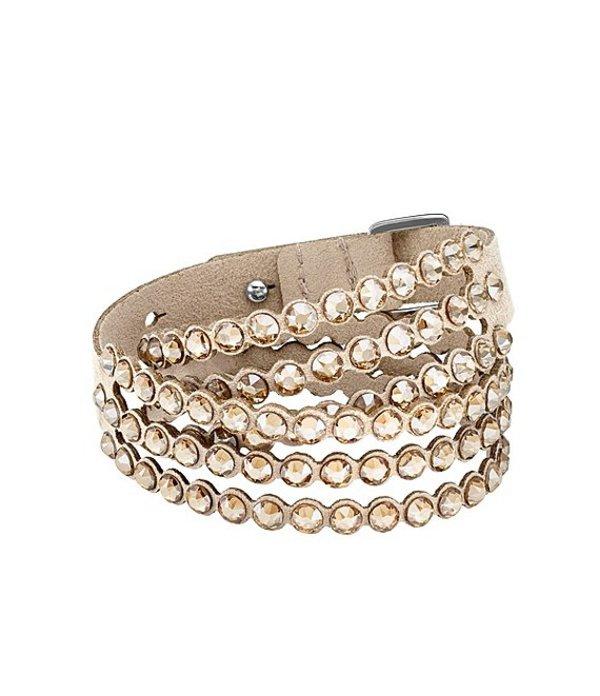 スワロフスキー レディース ブレスレット・バングル・アンクレット アクセサリー Power Collection Leather & Crystal Layered Bracelet Brown