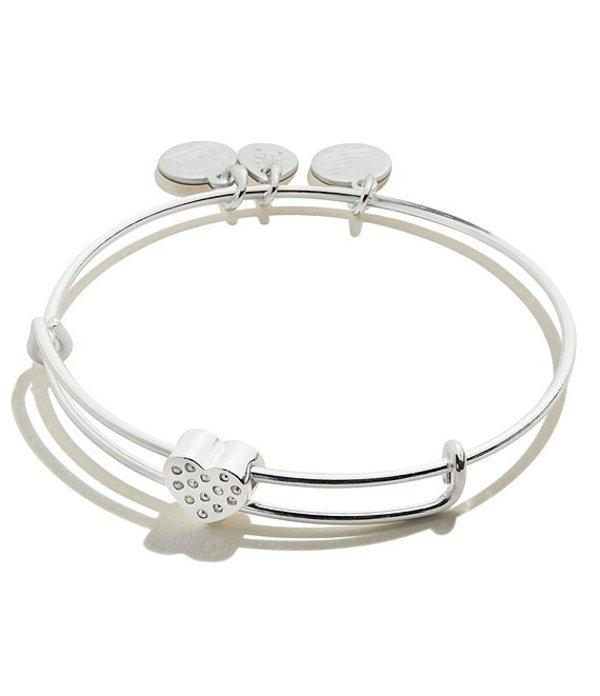 アレックスアンドアニ レディース ブレスレット・バングル・アンクレット アクセサリー Pave Heart Symbol Bead Bangle Bracelet Silver