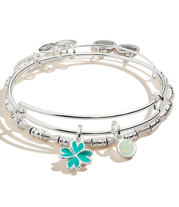 アレックスアンドアニ レディース ブレスレット・バングル・アンクレット アクセサリー Four Leaf Clover Charm Bangle Bracelet Set Silver