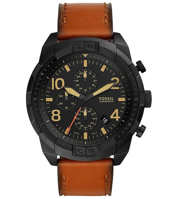フォッシル メンズ 腕時計 アクセサリー Men's Bronson Leather Strap Chronograph Watch Brown