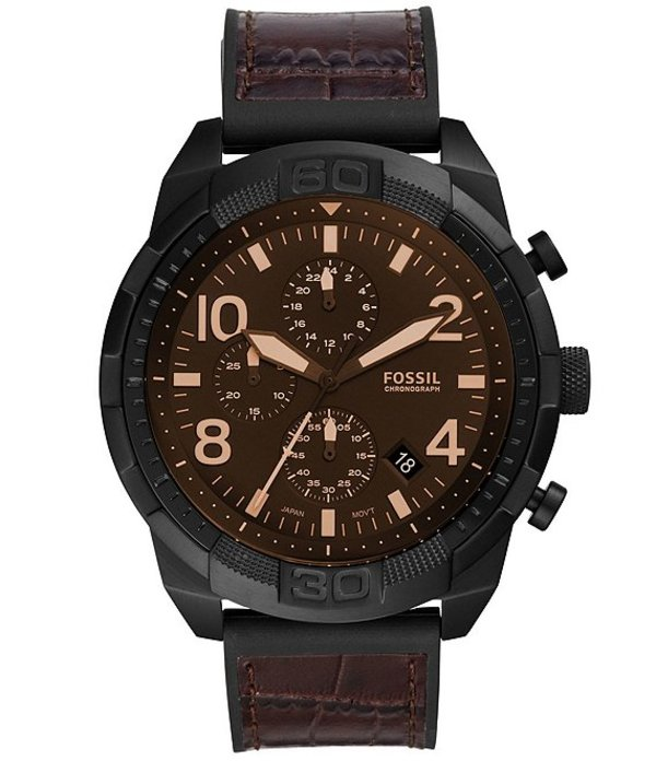 フォッシル メンズ 腕時計 アクセサリー Men's Bronson Sport Brown Crocodile Leather Chronograph Watch Brown
