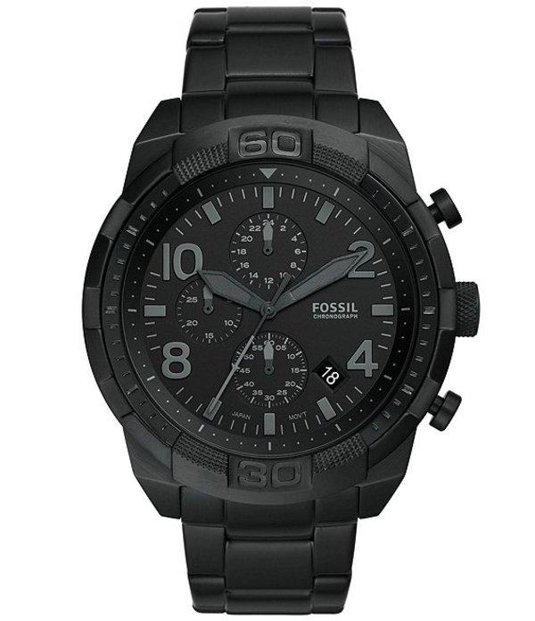フォッシル メンズ 腕時計 アクセサリー Men's Bronson Chronograph Black Stainless Steel Bracelet Watch Black