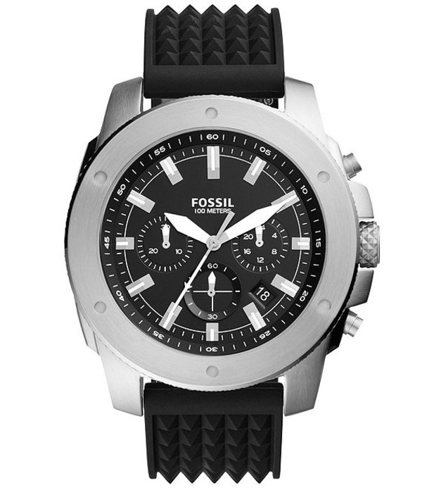 フォッシル メンズ 腕時計 アクセサリー Men's Mega Machine Chronograph Black Silicone Watch Black