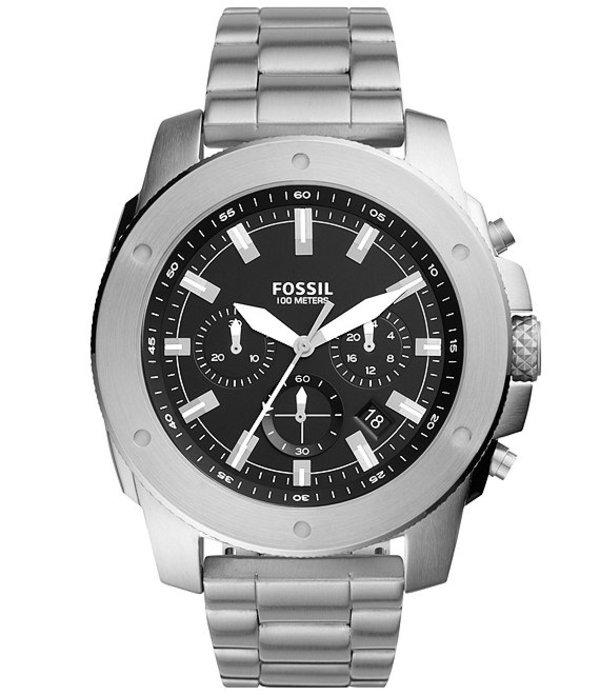 フォッシル メンズ 腕時計 アクセサリー Men's Mega Machine Chronograph Stainless Steel Watch Silver
