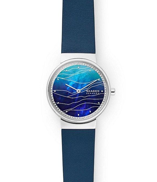 スカーゲン レディース 腕時計 アクセサリー Annelie Two-Hand Blue Leather Watch Blue