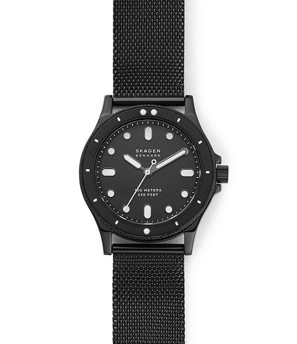 スカーゲン レディース ブレスレット・バングル・アンクレット アクセサリー Fisk Three-Hand Black Steel-Mesh Watch Black