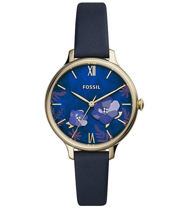 フォッシル レディース 腕時計 アクセサリー Winnie Three-Hand Navy Leather Watch Blue
