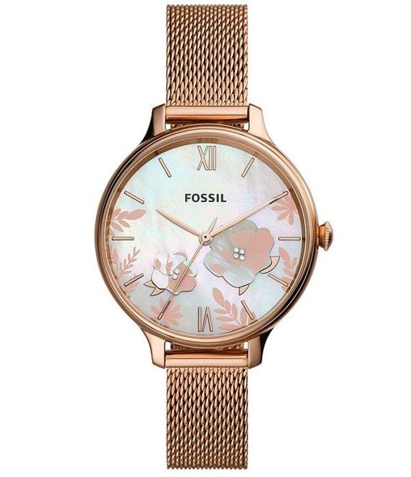 フォッシル レディース 腕時計 アクセサリー Winnie Three-Hand Rose Gold-Tone Stainless Steel Watch Rose Gold
