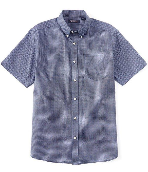 ラウンドトゥリーアンドヨーク メンズ シャツ トップス Short-Sleeve Printed Tailored to Wear Untucked Sportshirt Deep Blue