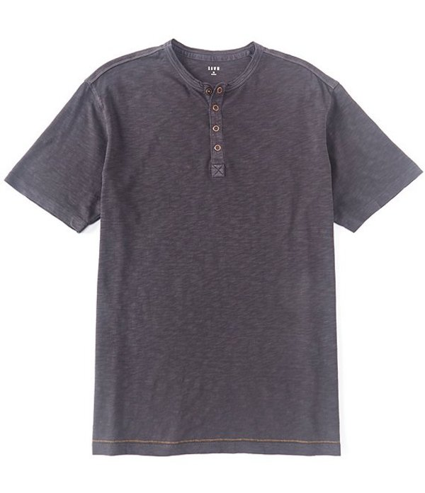 ラウン メンズ シャツ トップス Short-Sleeve Solid Snap Placket Henley Charcoal