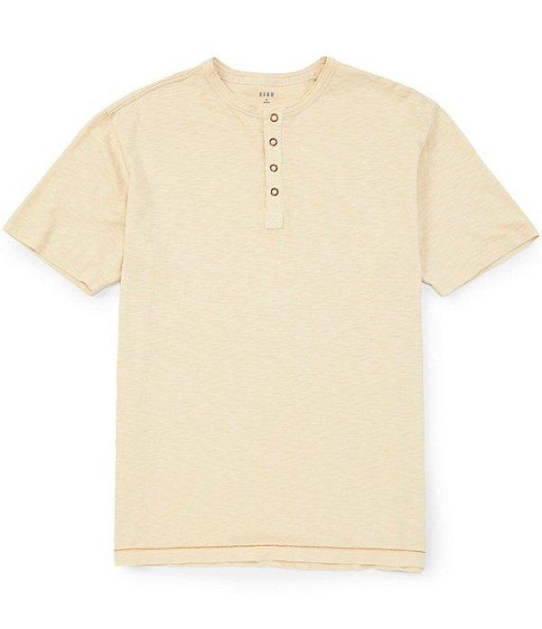 ラウン メンズ シャツ トップス Short-Sleeve Solid Snap Placket Henley String