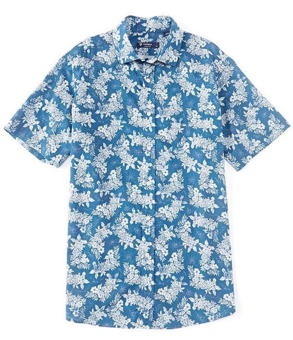 ダニエル クレミュ メンズ シャツ トップス Floral Print Light Blue Short-Sleeve Woven Shirt Light Blue