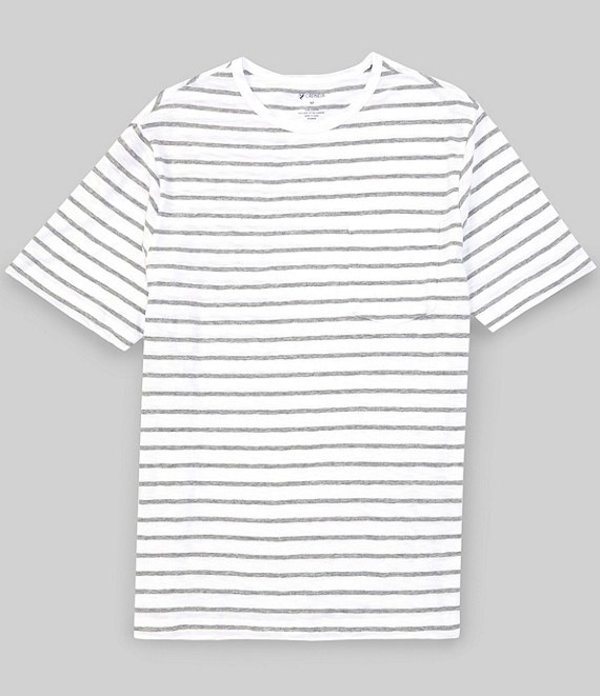 ダニエル クレミュ メンズ シャツ トップス Slub Stripe Crew Short-Sleeve Tee Whiteness