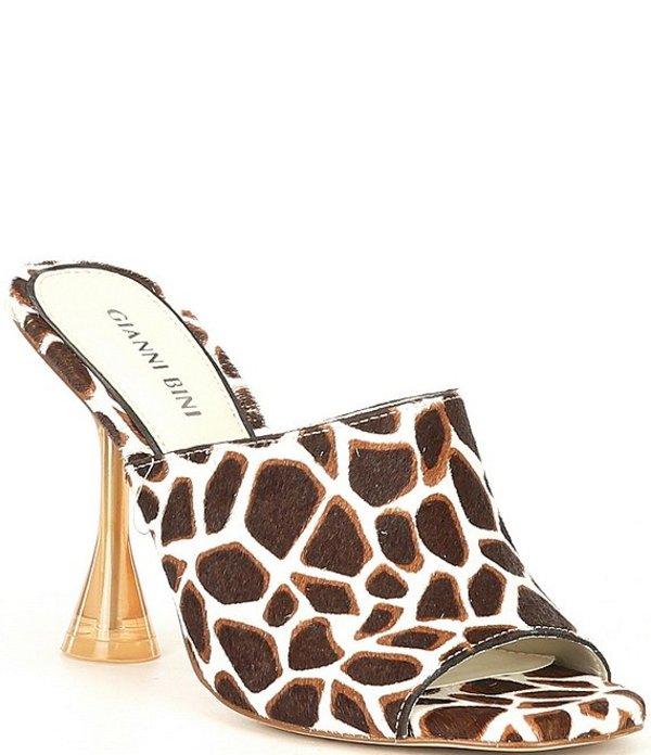 ジャンビニ レディース ヒール シューズ Stiina Giraffe Print Haircalf Mules Cream/Brown