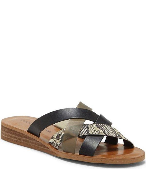 ラッキーブランド レディース サンダル シューズ Hallisa Multi Band Slide Sandals Black/Smoke/Natural