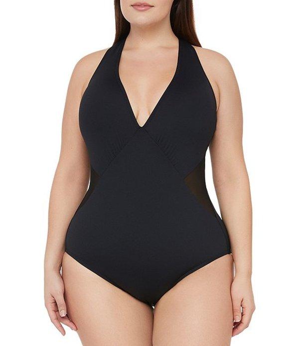 ラブランカ レディース ワンピース トップス Plus Size Mesh-Merizing Strappy Halter Tummy Control One Piece Swimsuit Black