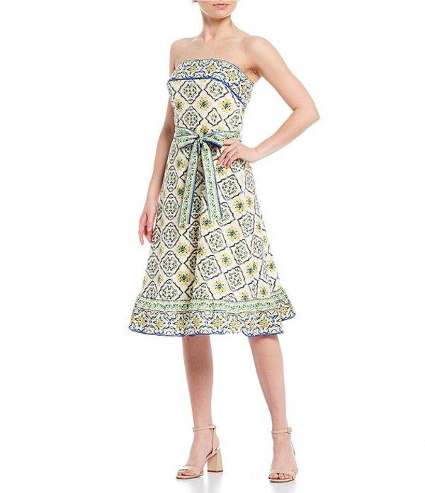 アントニオ メラーニ レディース ワンピース トップス Valerie Printed Strapless Midi Dress Ivory/Clover