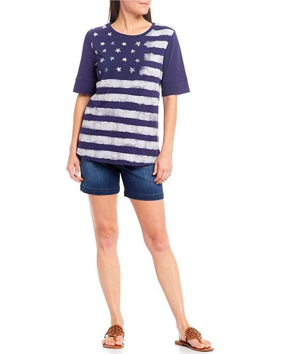 ウエストバウンド レディース Tシャツ トップス Petite Size Short Sleeve Flag Crew Neck Tee Diffused FlagOkN0P8nwX