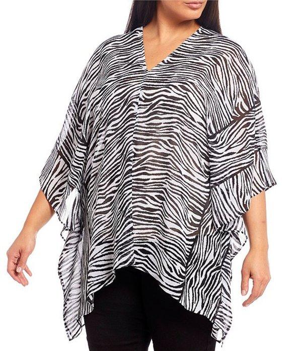 ウエストバウンド レディース シャツ トップス Plus Size Zebra Print V-Neck Poncho Black White Zebra