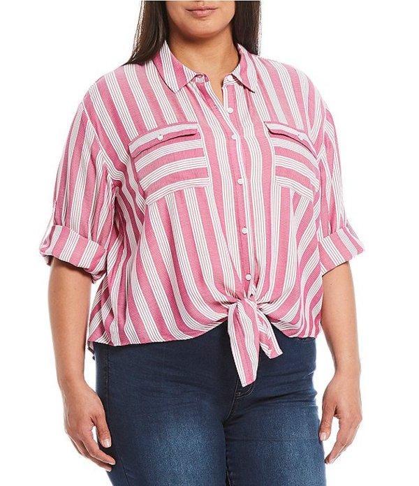 ウエストバウンド レディース シャツ トップス Plus Size Stripe Elbow Sleeve Tie Front Shirt Red Stripe
