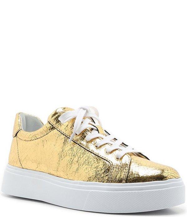 シュッツ レディース スニーカー シューズ Raver Metallic Leather Platform Sneakers Ouro