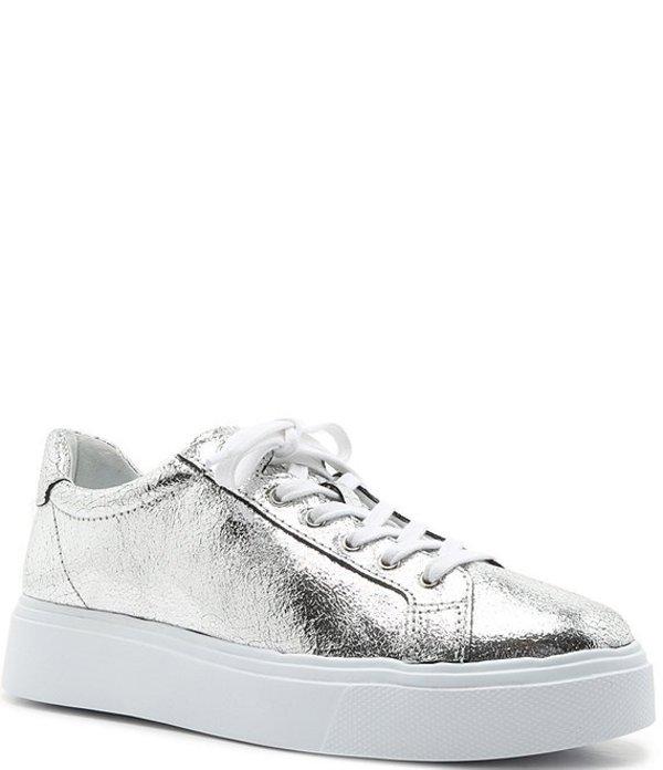 シュッツ レディース スニーカー シューズ Raver Metallic Leather Platform Sneakers Silver