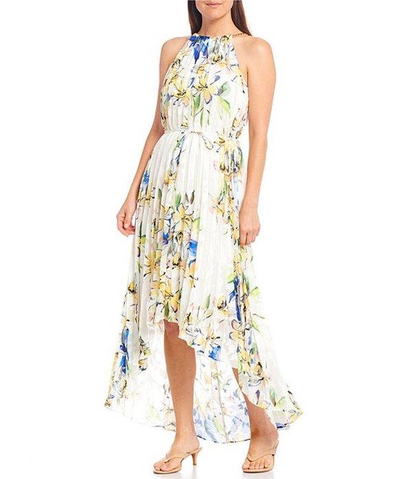 アレックスマリー レディース ワンピース トップス Gaya Pleated Halter Chain Neck Floral Hi-Low Midi Dress Ivory/Yellow/Royal