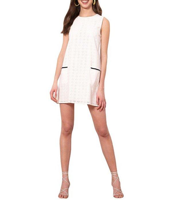 ドナモーガン レディース ワンピース トップス Cotton Eyelet Jewel Neck Faux-Pocket Shift Dress White
