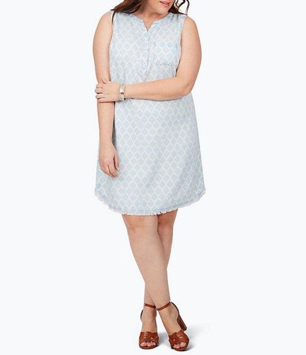 フォックスクラフト レディース ワンピース トップス Plus Size Haven Sleeveless Trefoil Print Sheath Dress Bluewash