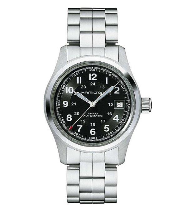 ハミルトン メンズ 腕時計 アクセサリー Khaki Field Automatic Watch Silver/Black