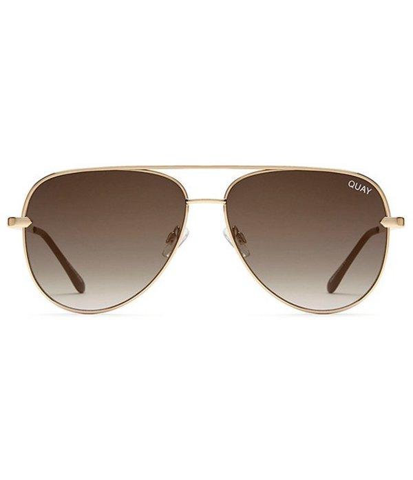 クアイオーストラリア レディース サングラス・アイウェア アクセサリー Sahara Solid Lens Aviator Sunglasses Gold Smoke