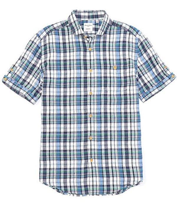 ムラノ メンズ シャツ トップス Madras Plaid Baird McNutt Linen Short-Sleeve Woven Shirt Blue